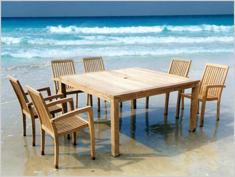 Square Fix Table Set With Stacking Arm Chairs