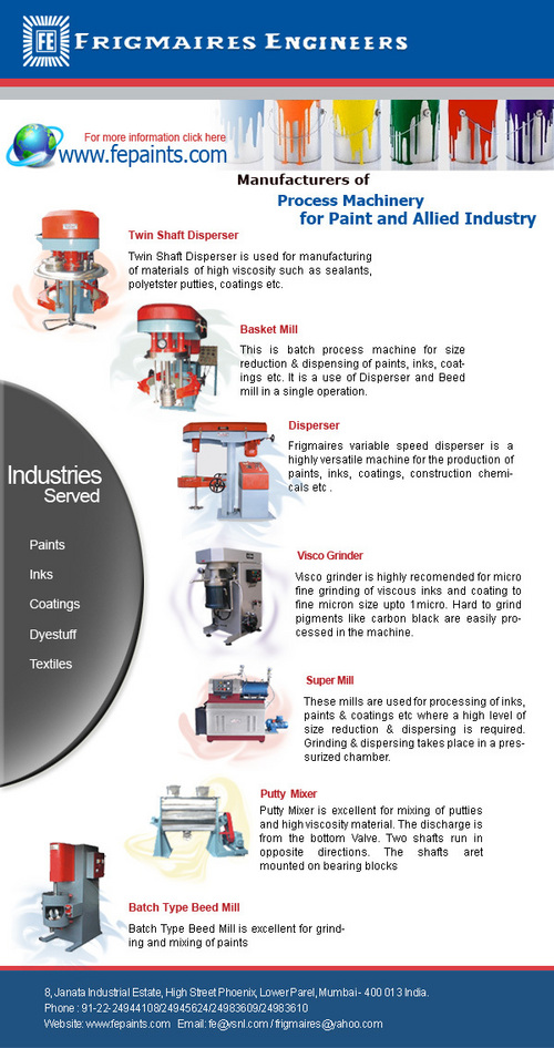 Paint Manufacturing Machines - Manufacturers, Suppliers