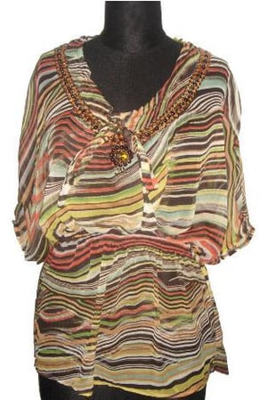 Polyester Printed Top With Embroidery At Neck