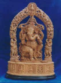 Sandalwood Ganesha With Prabha-Seated