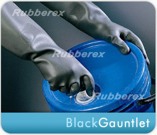Industrial Rubber Gloves - Black Gauntlet