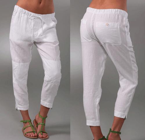 Women White Capri Pants
