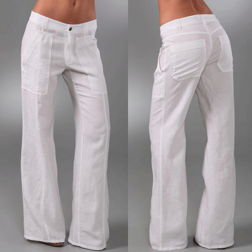 Women White Flared Pants