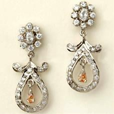 Earrings With White Gold Finish