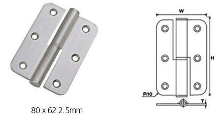 Stainless Steel Lift-Off Round Corner Hinges