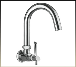 Wall Mounted Sink Cock With Normal Swivel Spout & Wall Flange