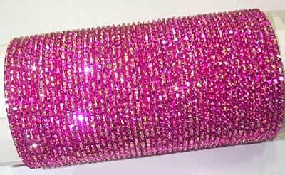 Pink Color Glitter Bangles