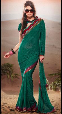 Exquisite Bottle Green Designer Saree