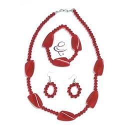 Red Glass Beaded Necklaces