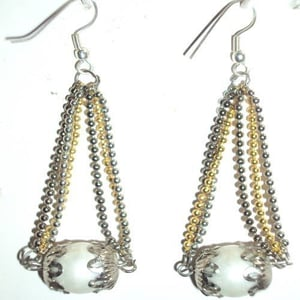 Gold And Silver Seed Beaded Earrings