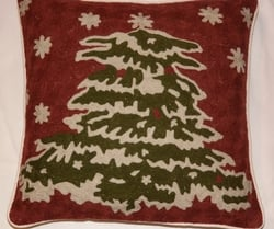Christmas Tree Embroidered Pillow Cover