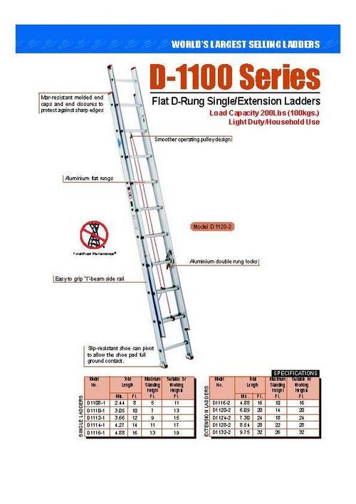 Flat D-Rung Single Extension Ladder