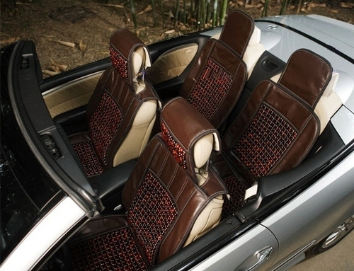 Car Seat Cover Leather And Wooden Beads