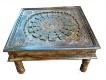 Unique Rustic Hand Carved Coffee Table