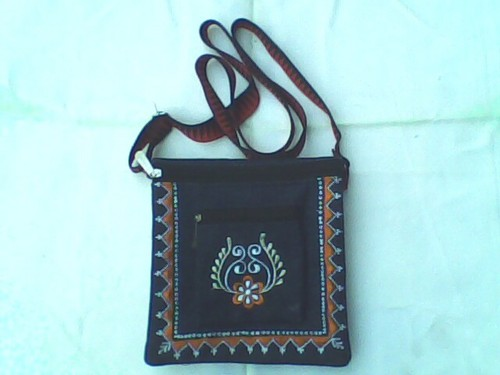 Denim Embroidery Conductor Purse