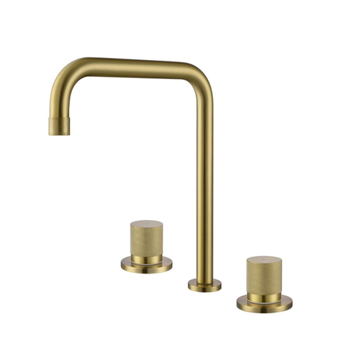 Ss304 Stainless Steel Spread Double Handle Wall In Bathroom Basin Faucet