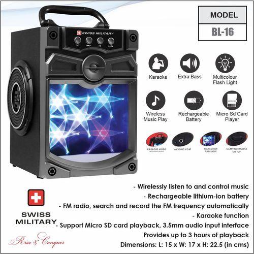 Swiss Military Bluetooth Speaker With Karaoke (Bl16)