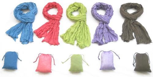 Crinkle Scarf With Pouch
