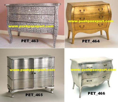 Drawers Brass Wooden Carved Chest
