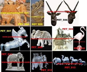 White Metal Covered Wooden Carved Animals