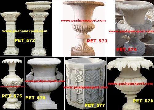 White Marble Stone Flower Pot