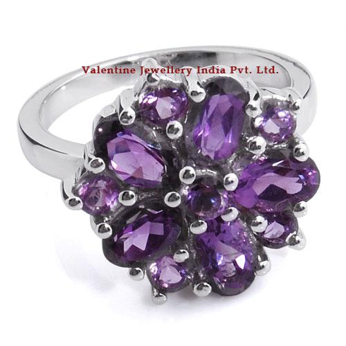 Amethyst Flower Shaped 925 Sterling Silver Rings
