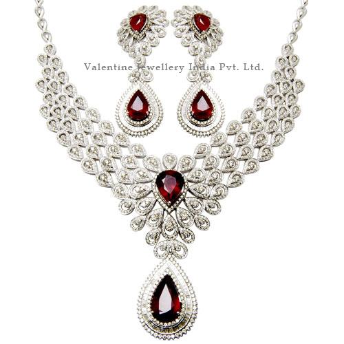 Designer Bridal Necklace Studded Genuine Diamonds And Ruby