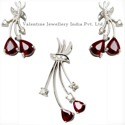 Diamonds Ruby Earring Sets