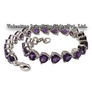 Trillion Shaped Amethyst Sterling Silver Bracelet