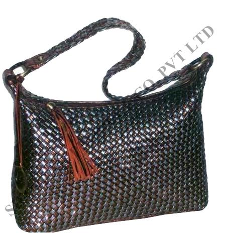 Leather Cross Weave Shoulder Bag