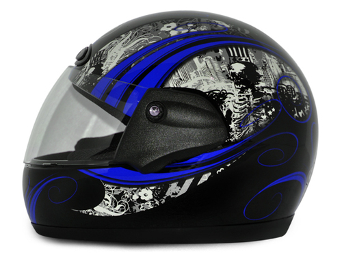 Orna Black Base With Blue Graphic Helmet (Vega Corha)