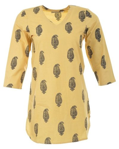 Short Sleeve Women Cotton Tunic