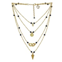 Charming Gold Metal Purple Glass Bead Multi-Strand Necklace