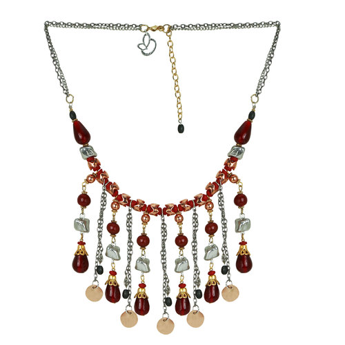 Marvel Metal Acrylic Glass Multicolor Tassel Necklace