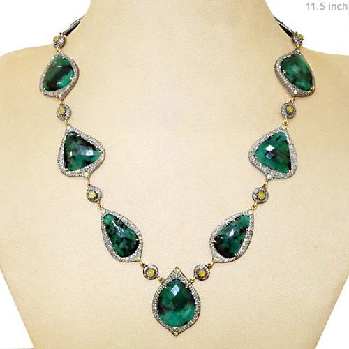 Emerald Gemstone 14k Gold Diamond Necklace In Jaipur
