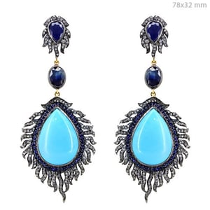 Turquoise Blue Sapphire Silver Gold Pave Diamond Earrings