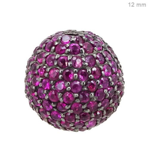 Silver Pave Ruby Ball Finding