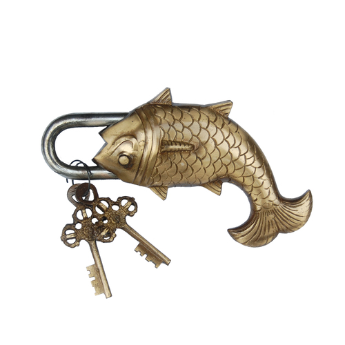 Beautiful Brass Door Pad Lock Fish Figure