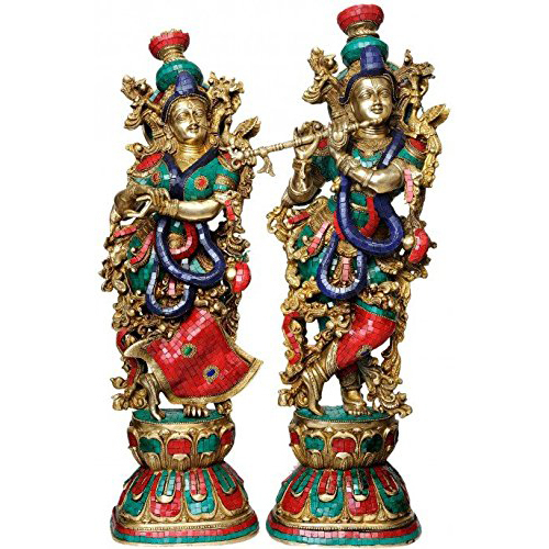 Radha Krishna Idol Set Of 2 Turquoise Coral Color 29""