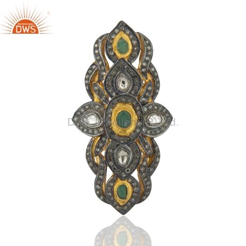18k Gold Emerald Rose Cut Diamond Studded Knuckle Rings