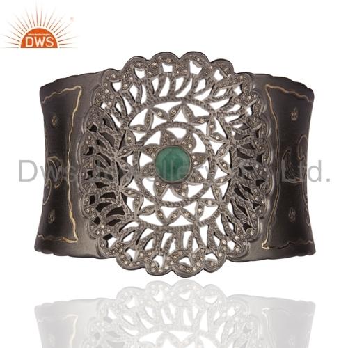 Diamond Studded Emerald Sterling Silver Cuff Bangle