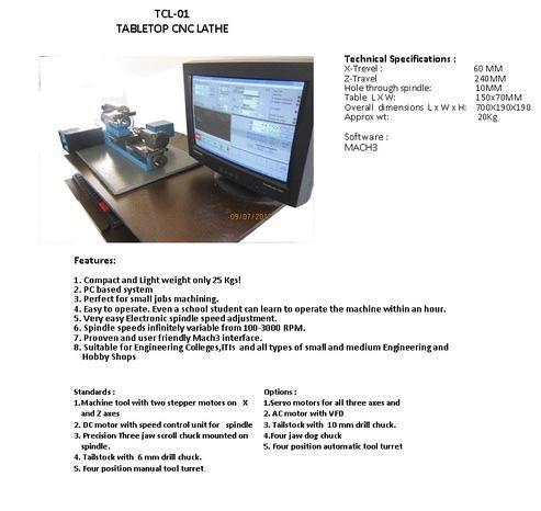 Tabletop CNC Trainer Lathe Machine