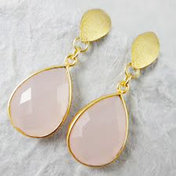 925 Sterling Golden Polished Silver Rose Quartz Earring