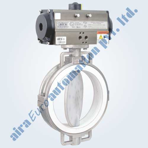 Fea/Pfa Lined Butterfly Valve With Pneumatic Rotary Actuator