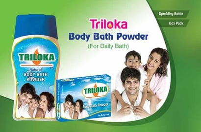 New Triloka Body Bathing  Powder Naturals Best For: All Types Of Skin