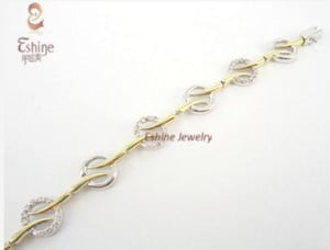 925 Sterling Silver jewelry Charm Bracelet With Gold Plating And CZ stones