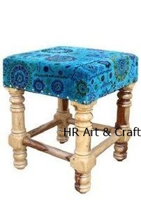 Modern Solid Wood And Fabric Stool