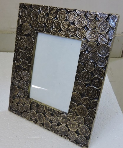 Antique Brass Fitted Coin Design Wooden Photo Frame