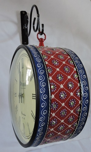 Hand Painted and Stone Art Work Station Clocks