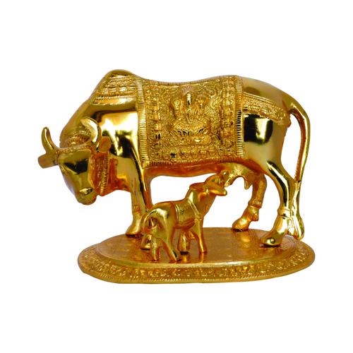 Kamdhenu Cow and Calf Golden Idol